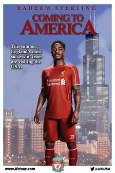 Raheem Sterling and Liverpool FC are headed to the US this summer for the LFC 2014 Tour. So sad I can't see them this year :(