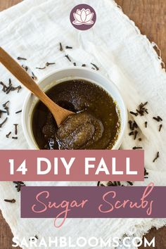 Enjoy all the best scents of fall - pumpkin spice, cinnamon, clove, and more with these 14 Best Fall Inspired Sugar Scrubs that will transform your dry skin and makes a great DIY gift! #diysugarscrubs #diyfall #diyfallsugarscrubs #diybeauty #diybeautygifts Sugar Scrub Diy, Sugar Scrubs, Spiced Cider, Fall Gifts, Fall Scents, Easy Craft Projects, Pinterest Diy, Homemade Beauty Products, Beauty Recipe