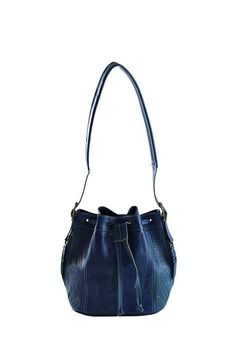 Leaders in Leather Vaquetta Tooled Drawstring Bag - Denim – Lufli Boutique