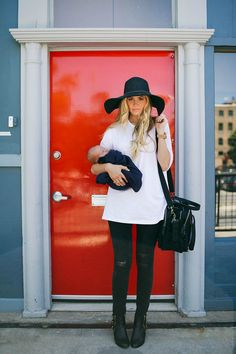 TEE: ASOS // JEANS: Rag & Bone // BOOTIES: ShoeMint – (not available) similar here and love these // HAT: Forever 21
