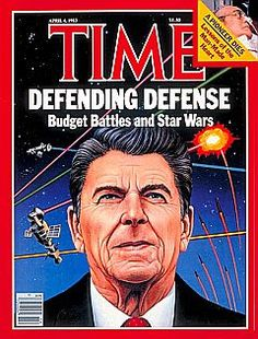"""US President Ronald Reagan gives his """"Star Wars"""" speech on March 23, 1983, proposing a space-based defense system equipped with high-powered lasers that would shoot down incoming Soviet missiles. (courtesy: pophistorydig.com)"""