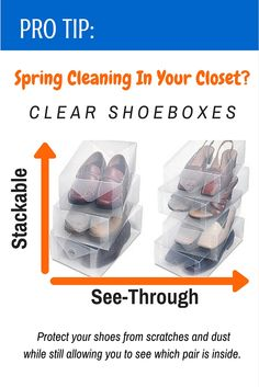 Protect your shoes during a move or in your closet. These durable plastic boxes allow you to protect your shoes from scratches and dust while still allowing you to see which pair is inside. These shoe boxes allow for uniformed stackability to save space in your closet. | Moving Tricks and Supplies