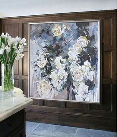 Abstract flower Oil Painting On Canvas Original by CZ Art Design