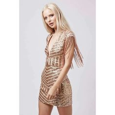 8a7177a2 Plunge Fringe Sequin Mini Dress by Rare (750 MAD) ❤ liked on Polyvore  featuring