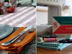 How to make cloth napkins and a table runner -- want to make black/navy and white striped table runner with colorful napkins