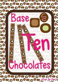 Place Value - Base Ten Chocolates - Math Center Game Math Literacy, Preschool Math, Teaching Math, Math Activities, Math 2, Teaching Ideas, Base Ten Blocks, Sixth Grade Math, Friendship Party