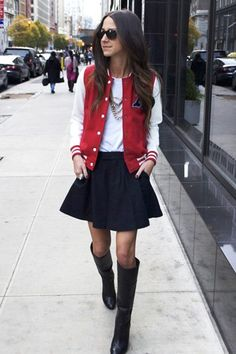 Styling Tips Stolen From Our Fave Fashion Bloggers #refinery29  http://www.refinery29.com/styling-tips-from-fashion-bloggers#slide-7  Arielle Noa from Something Navy — Grow Up Your High School Gear  Varsity jackets are the season's most popular topper, but it's easy to look like a teenybopper if you don't wear them right. Keep the rest of your outfit sophisticated (we like Arielle's riding boots and full skirt), and pile on the jewelry.   Photo: Courtesy of Something Navy