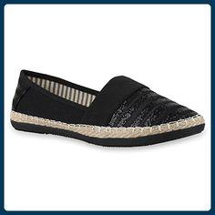 Damen Bast Espadrilles Glitzer Streifen Slipper Flats Schuhe 133164 Schwarz Schwarz 40   Flandell® - Espadrilles für frauen (*Partner-Link)