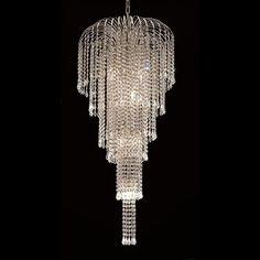 "Elegant Lighting 6801G19C/RC Falls Collection Foyer/Hallway Large Hanging Fixture D19"" x H42"" Chrome Finish (Royal Cut Crystals)"