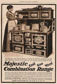 Majestic Combination Range: a versatile kitchen stove & oven that burns hard coal, soft coal, gas, and wood! Also heats water.