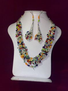 Onix - red & orange coral - jade - amatiste - small pearls - blue and green fairouz - agate ( naturel )