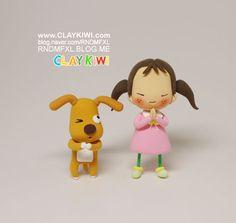 Praying girl and dog clay tutorial