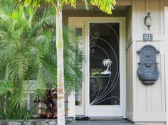 custom designed front door aluminum screen door with tropical insert Pet Screen Door, Custom Screen Doors, Aluminum Screen Doors, Front Door With Screen, Vintage Screen Doors, Old Screen Doors, Exterior Doors, Entry Doors, Aluminium Front Door