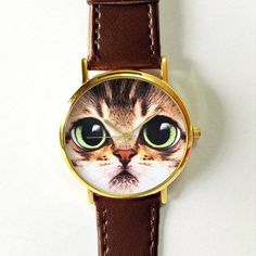 Cat Face Watch Women Watches Mens Watch Leather Watch by FreeForme