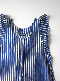Vintage Marimekko Mari-Essu Dress with Blue and White Stripes Size Large from the 1970s.