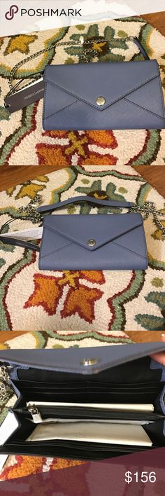Selling this Rebecca Minkoff NWT Wallet in a Chain Bag Blue on Poshmark! My username is: joliee4. #shopmycloset #poshmark #fashion #shopping #style #forsale #Rebecca Minkoff #Handbags