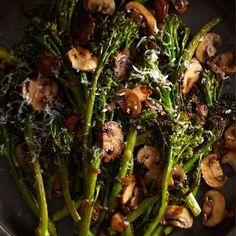 Roasted Broccolini with Winey Mushrooms