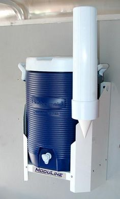 Aluminum Water Jug Holder by Moduline. Perfect for the garage, shop or trailer Cargo Trailer Conversion, Cargo Trailer Camper, Cargo Trailers, Enclosed Trailers, Tiny Trailers, Lightweight Campers, Vintage Motorhome, Work Trailer, Trailer Storage