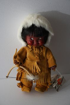 Native American Doll Eskimo Indian Inuit Collector Doll, Women, VINTAGE doll with tags, Dolls of World, Genuine Suede clothing /real fur hat