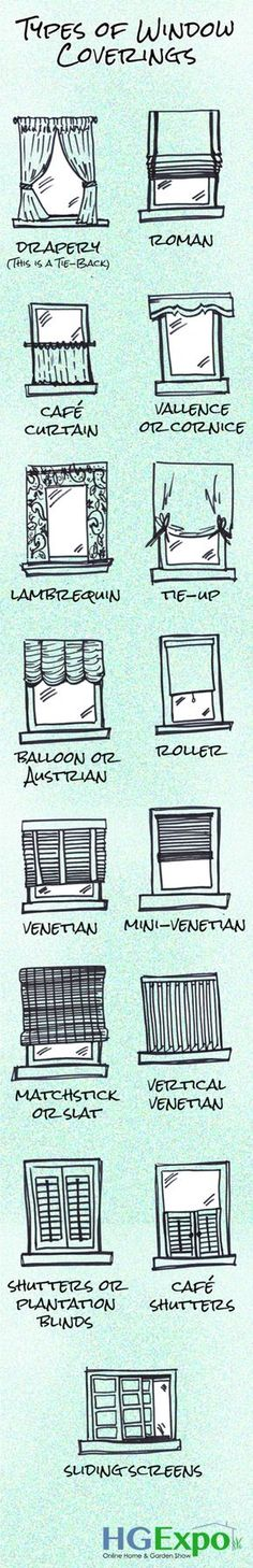 5. Discover all the types of window coverings - 50 Amazingly Clever Cheat Sheets To Simplify Home Decorating Projects