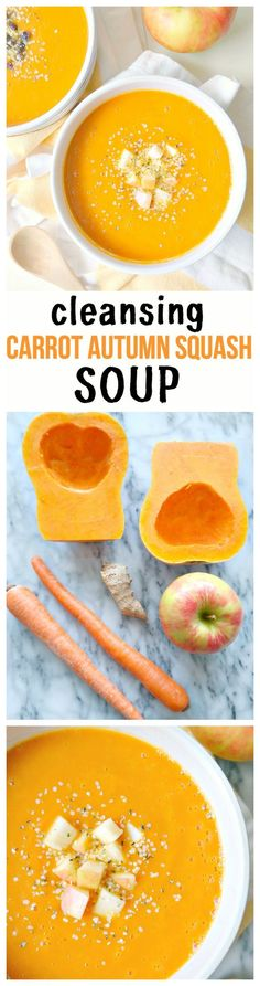 Cleansing Carrot Autumn Squash Soup - vegan gluten-free oil-free low-fat and immune-boosting soup! With carrots honeycrisp apple butternut squash spicy ginger fresh lemon vibrant turmeric and warming cinnamon this super cleansing feel good soup Vegan Soups, Vegetarian Recipes, Cooking Recipes, Healthy Recipes, Diet Recipes, Vegan Meals, Recipies, Vegetable Soup Recipes, Healthy Soups