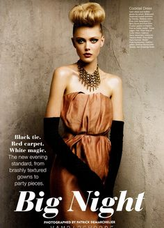 Frida Gustavsson by Patrick Demarchelier for Allure December 2011 issue || COCKTAIL DRESS - Satin dress and leather gloves by Lanvin. Brass-and-Swarovski-crystal necklaces by Dannijo.
