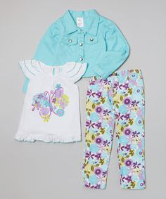 Convenience shouldn't be a luxury. This perfectly paired set boasts a keyhole back on the top and elastic waistband on the pants for fuss-free dressing. An allover floral print on the pants and a cooler-than-cool blue button-up jacket take this ensemble from sweet to sensational.