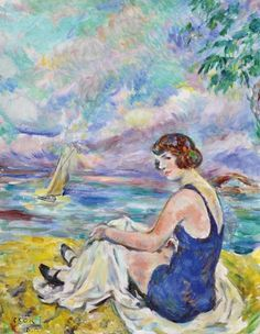 Csók, István (1865-1961) Beach in Balatonaliga (View of the Balaton with a bathing woman)