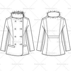 Women's Fur Blazer Fashion Flat Template