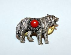 1661~Vintage Antique Silvertone Red Cabochon Figural Wolf Double Tack Pin**