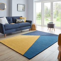 Blue And Yellow Living Room, Colourful Living Room, Rugs In Living Room, Living Room Decor, Good Living Room Colors, Blue Rooms, Dining Rooms, Colorful Rugs, Living Room Color Schemes