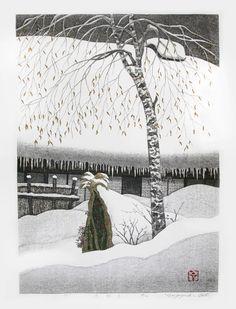 OHTSU Kazuyuki(大津 一幸 Japanese, b.1935)  Garden in the Snow   woodblock