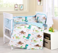 WANT!! Baby Bedding Crib Cot Sets - 9 Piece Cute Dinosaurs Theme. RRP $150