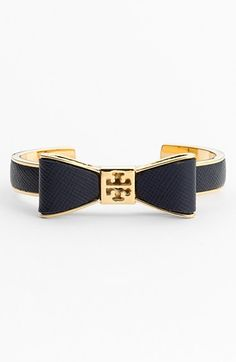 A sweet addition to a stacked wrist | Tory Burch bow leather cuff