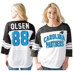 Greg Olsen Carolina Panthers G-III Sports by Carl Banks Women's Play Action Mesh Name & Number Shirt - White - $51.99