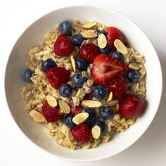 Fast Meal: Healthy oatmeal + milk + frozen fruit + almonds (for kids 4 and up)