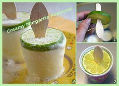 Creamy Margarita Popsicles  recipe here ==> http://lovecookeat.com/creamy-margarita-popsicles/