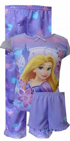Disney Tangled Rapunzel 3 Piece Lilac Toddler Pajamas, $22  Perfect for the princess in your life! These flame resistant pajamas for toddler girls feature Princess Rapunzel from the Disney movie Tangled. These pretty lilac jammies have coordinating printed pants with a ruffle at the bottom hem, as well as a solid pair of coordinating lilac shorts. 100% polyester, machine wash gentle cycle.