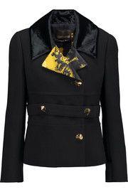 Roberto CavalliPrinted satin and velvet-trimmed wool-crepe jacket