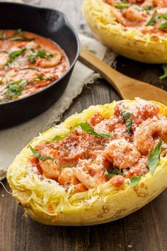 Spicy Tomato Garlic Shrimp with Spaghetti Squash | An easy one pan shrimp dinner with a creamy and spicy sauce that's lighter than you think!
