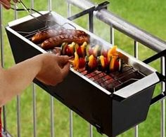 With the balcony barbecue grill you'll be able to enjoy good old fashioned bbq even if you don't have a home with a sprawling yard. It attaches to the railing...