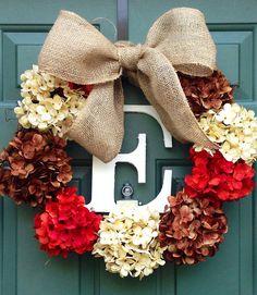 XL Monogram Thanksgiving Fall Wreath with Silk Hydrangeas and Burlap Bow on Etsy, $90.00