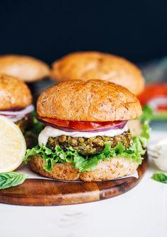 Lentil Pea Burgers with Lemon Basil Mayo (vegan + gluten-free) | Making Thyme for Health