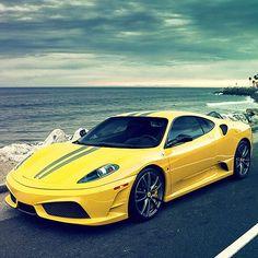 Striking yellow Ferrari