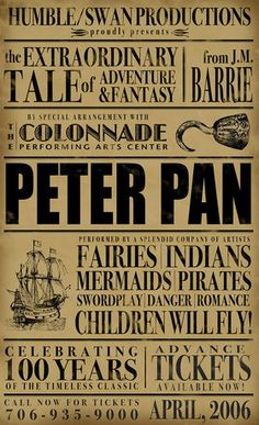 Peter Pan Poster - Inspiration for a poster I could make that's more personal. Love the look.