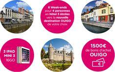 1 Week-end pour 4 personnes en hôtel 3 étoiles vers la nouvelle destination OUIGO de votre choix