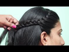 New easy hairstyle for collage girls Side Braid Hairstyles, Party Hairstyles, Latest Hairstyles, Headband Hairstyles, Girl Hairstyles, Easy Hairstyle, Medium Hair Styles, Curly Hair Styles, Natural Hair Styles