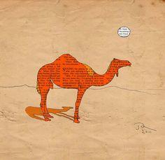 Camel art print Orange Camel the animal poster by OrangeOptimist, $45.00