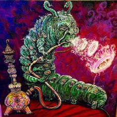 Hookah Smoking Caterpillar Alice in Wonderland BLOTTER ART perforated acid art paper Kesey Leary Grateful Dead psychedelic lsd acid tabs Caterpillar Alice In Wonderland, Caterpillar Art, Red Lightning, Acid Art, Felix The Cats, Psychedelic Art, My Collection, Art World, Trippy