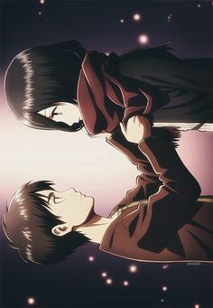 Eren Jaeger and and Mikasa Ackerman <3 Can't help but find them cute #AttackOnTitan
